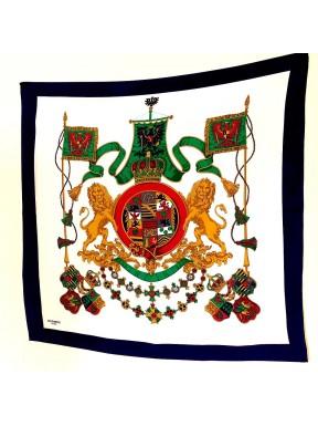 Hermes Foulard Seta silk 100% vintage lion king blu