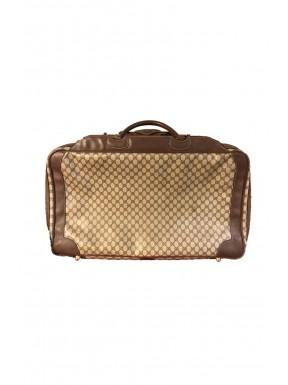 Gucci valigia travel bag classica beige tessuto pelle vintage