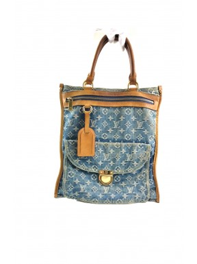 Louis vuitton sac flat shopper denim jeans blue