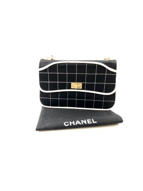 Chanel bag black/white raso chain usata ottima