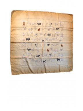 Burberry foulard se silk 100% dogs london giallo senape usato