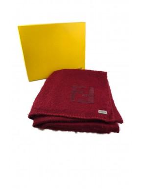 Fendi coperta blanket rossa cashmere lana plaid grande con scatola usata