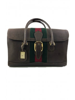 Gucci luggage train vintage web pelle marrone 1960 usato
