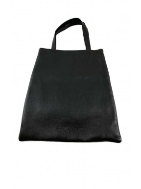 Yves saint lauren sac flat shopping  bag nera pelle perfetta