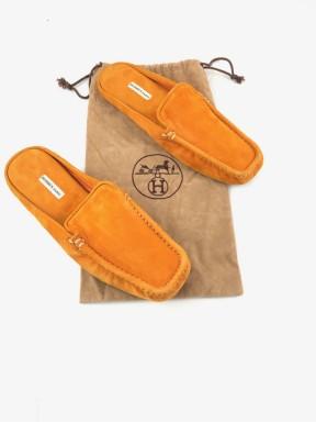 Hermès ciabatte splippers arancioni velluto tg 40 usate