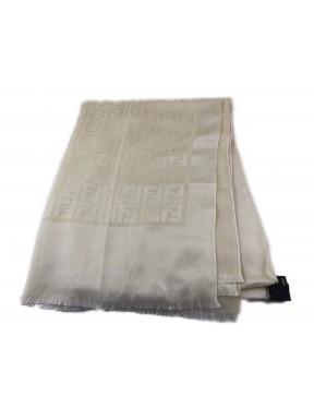 Fendi sciarpa scarf beige monogram seta ottima