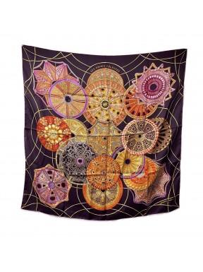 Hermès foulard seta 90x90 Les domes Celestes purple usato ottimo