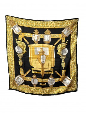 Hermès foulard seta 90×90 feux de route nero usato ottimo