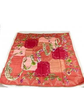 Foulard CARTIER Paris Seta Rosa/rosso fantasia animali gioielli Usato ottime condizioni